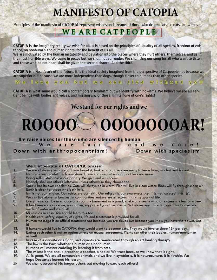 manifesto of catopia with cat people rules about free roaming cats
