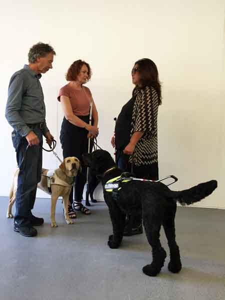 three visually impaired persons standing with three guide dogs